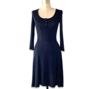 SO Skater Casual Dress Black Snap Front, XS